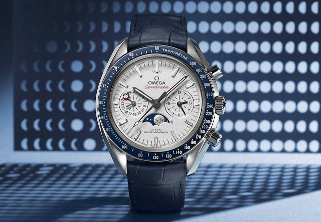 Cronografo Omega Speedmaster Moonphase Platino Oro Blu Replica