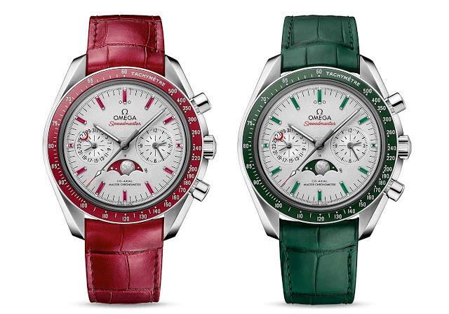 Cronografo Omega Speedmaster Moonphase Platino Oro Rosso Verde Replica